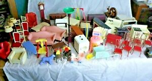 50 + Vintage Dollhouse Miniatures Furniture & Accessories Renwal Ideal Marx More