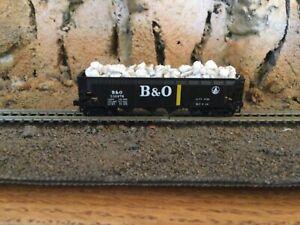 N scale Con-Cor  4 bay hopper w/custom limestone load B&O BALTIMORE OHIO mtl cpl