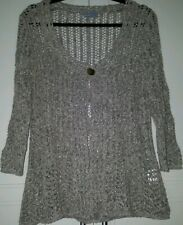 Per Una Marks And Spencer Metallic Pewter Lacy Colour Cardigan Size M 12-14-16