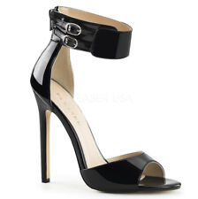Pleaser Ankle Strap Dual Buckle Patent Sandal Stiletto High HEELS -19 Black 13