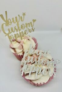 CUSTOM PERSONALISED GLITTER CUPCAKE TOPPERS BIRTHDAY X6 BABY PARTY CAKE TOPPER