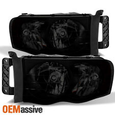 Fit 2002-2005 Dodge Ram 1500 2500 3500 Black Smoked Headlights Lamps Replacement