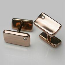 Liquid Slim Simple Men's 10K Rose Gold & Brilliant Cut Cubic Zirconia Cufflinks