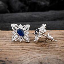 Flower Earrings Blue Sapphire Stud Earring White CZ Jewelry For Valentine Gift