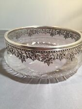 Antique Hand Cut Crystal Bowl With Sterling Silver Rim. Hallmarked.