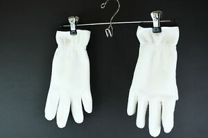 Lands' End Therma Check Women's White W/Black Trim 100% Polyester Gloves Size L