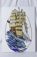Vtg 1999 Artist Signed Paul Dowgiert Stained Glass Art Ship On Waves Nautical