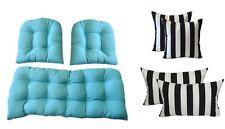 In/Outdoor Wicker Cushions & Pillows 7 PC SET Cancun Blue + Black & White Stripe