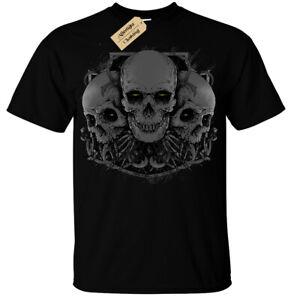 Demon Skulls T-Shirt Mens gothic rock biker skull goth skeleton gift alternative