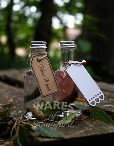 Luxury Mini Gin Glass Bottle With Caps, 50ml, Wedding Favours, Sloe Gin, New*