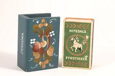 Norwegian Painted Rosemaling Wood Match Box Holder Matchbook Scandinavian Decor