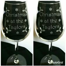 Pair of Personalised Christmas Wine Glasses - Family Name - New