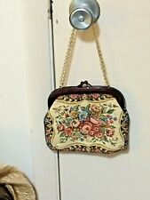 Vintage French Tapestry Purse Pink Roses Handbag Chateau Decor Collectible Purse