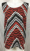 SUZANNE GRAE Casual Geometric Print Women's Easy Wear Top Blouse Size 14