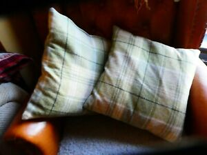 Laura Ashley 2 x Green Check Cranbourne Cushions 100% Wool - feather pads.