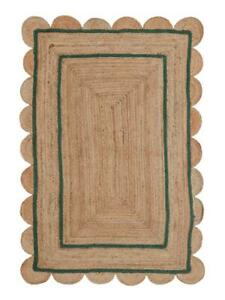 area rugs green border jute scallop boho decor handmade rug floor rugs jute rug