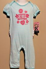 "GIRLS 0/3 months romper Paul Frank LUXE ""Cute as a button"" 1-piece bodysuit NWT"