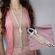 Fashion White Artificial Pearls Long Chain Charms Sweater Necklace New A