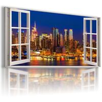 NEW YORK CITY BY NIGHT HOLIDAY 3D Window Canvas Wall Art Picture Large W372