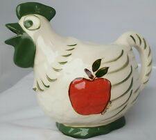 "CHICKEN ROOSTER HEN 7"" glazed ceramic pitcher, fun bird shaped vase jar"