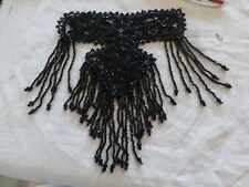 exceptionnel ancien motif en de  jais de Paris verre noir passementerie ancienne