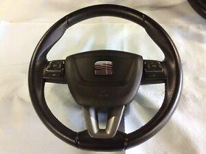 2011 SEAT IBIZA CUPRA (6J) MK4 3 COMPLETE LEATHER STEERING WHEEL & AIRBAG