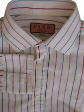 THOMAS PINK Shirt Mens 15.5 M White - Purple Blue & Burgundy Stripes