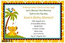 20 x LION KING UNISEX BABY SHOWER PERSONALISED PARTY INVITATIONS + FREE MAGNETS