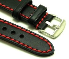 22mm Black/Red High Quality Leather Replacement Watch Strap -  Wenger 22 Watches