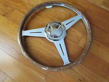 "15 "" flat Tourist Trophy NIB classic wood racing steering wheel ring billet horn"