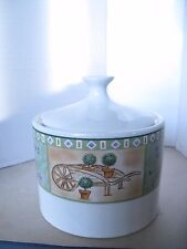 Brandywine By Sango Sugar Bowl with Lid Green Trim, Flowers & Pots 8820