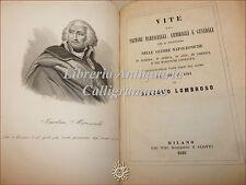 Giacomo Lombroso VITE MARESCIALLI AMMIRAGLI GENERALI 1848 con 14 Ritratti Incisi