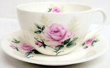 Majestic Rose Breakfast Cup & Saucer Bone China Pink Rose Cappuccino Latte Set