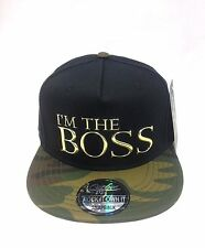 I am the boss logo in metallo Premium Snapback Baseball Hip Hop era Piatto Picco Cappello
