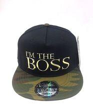 I am the boss logo in metallo Premium Snapback Baseball Hip Hop era Piatto Picco Cappello