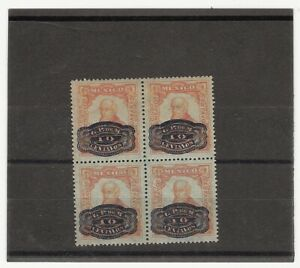 MEXICO 1916 10 CENTS ON 5 CENTS BARRIL OVP TRIAL COLOR PROOF BLOCK OF FOU (E990)