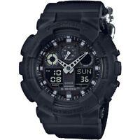 Mens Casio G-Shock Blackout Cloth Series Alarm Chronograph Watch GA-100BBN-1AER