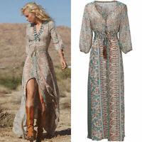 Summer Boho Women Chiffon Party Evening Beach Dresses Long Maxi Dress Sundress