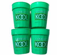 Lot 4 Vintage Kool Cigarette Drinking Cups Green Official Merch Plastic 1986