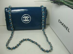 Authentic Chanel Blue Patent Leather CC Logo Full Flap Crossbody Bag Clutch