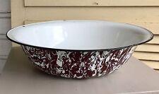 Vintage Brown and White Swirl Enamel Ware Granite Ware Large Wash Basin Bowl