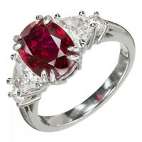 2.9ct Oval Cut Pink Ruby Engagement Ring Diamond Accents 14k White Gold Finish