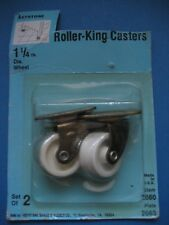 """New listing Nos 1 1/4"""" Roller Casters Keystone Plate 2663 white set Vintage Made Usa"""