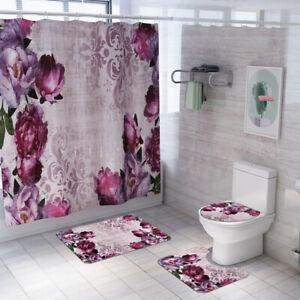 Floral Shower Curtain Bathroom Rug Set Soft Bath Mat Non-Slip Toilet Lid Cover