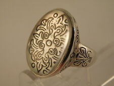 STERLING FILIGREE LUCITE RING INDIA SZ 10 SILVER