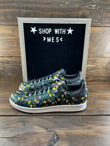 Adidas Stan Smith Floral Print Sneakers Womens Shoes Core Black EH2036- NEW