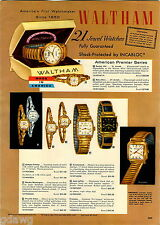 1956 ADVERT 4 PG Waltham Wrist Watch Barbara Fritchie 25 Jewel Yorktown Cap Kidd