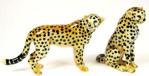Miniature Porcelain Cheetah Figurines Set/2 Big Cat App 4cm H