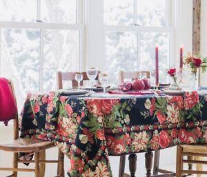 "NWT APRIL CORNELL BREAKFAST CLOTH TABLECLOTH  ""Vivian Black "" Floral 54x54 NEW"