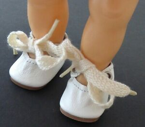 """Genuine White Leather NOS Tie Doll Shoes ~ Fit Tiny Terri Lee 1-3/4"""" Long x 1"""""""